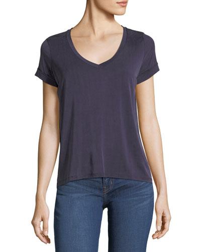 Rolled-Cuff Linen T-Shirt
