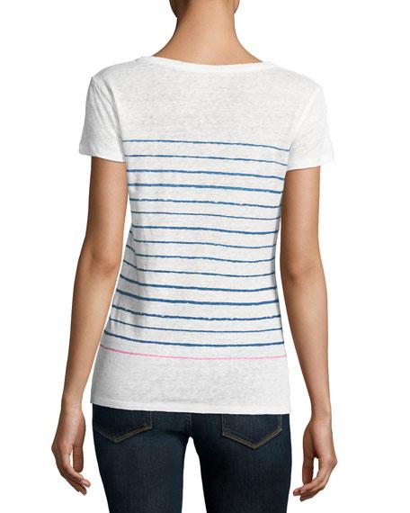 Two-Tone Stripe Linen T-Shirt