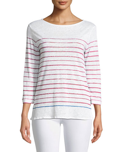 Two-Tone Striped Linen Top