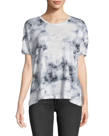 Majestic Paris for Neiman Marcus Tie-Dye Linen Short-Sleeve