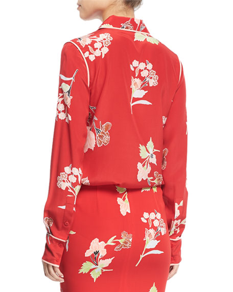Floral-Print Long-Sleeve Silk Shirt