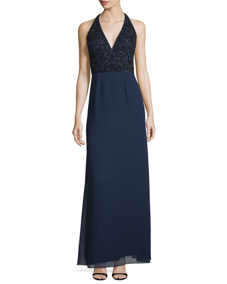 Sleeveless V-Neck Beaded Column Gown