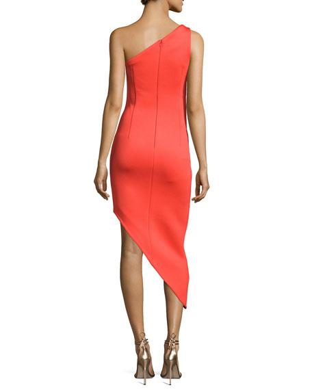 One-Shoulder Asymmetric Crepe Sheath Dress