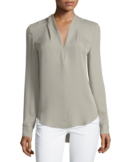 Elie Tahari Hester Long-Sleeve V-Neck Silk Blouse
