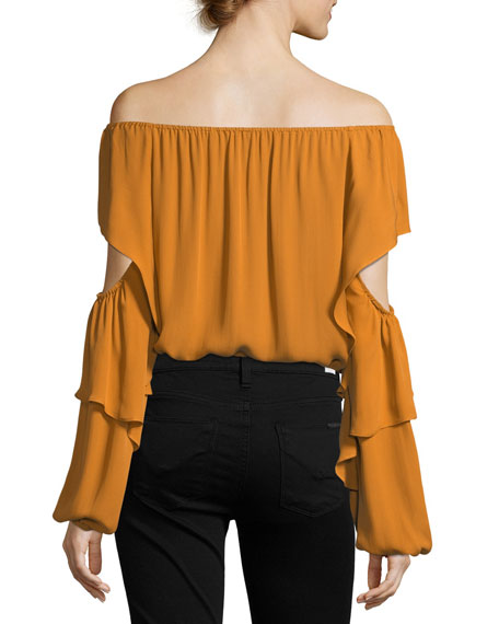 Wiley Off-the-Shoulder Silk Blouse