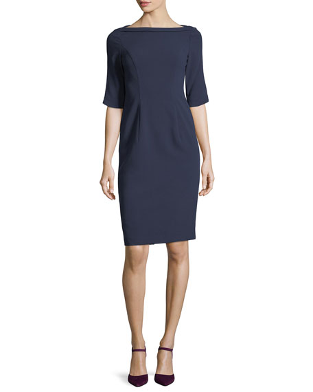 3/4-Sleeve Structured Ponte Sheath Dress