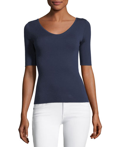 3/4-Sleeve Scoop-Neck Cashmere Top