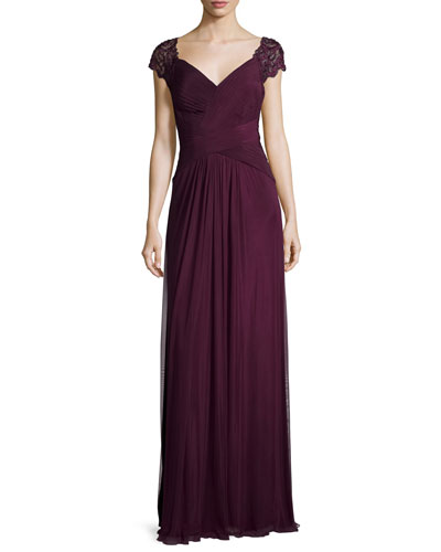 Cap-Sleeve Ruched Chiffon Gown