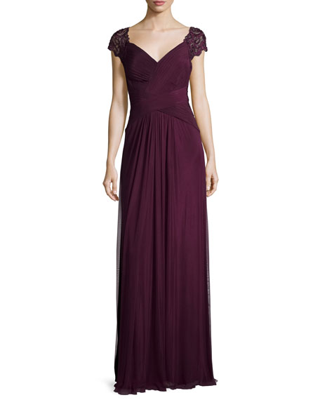La Femme Cap-Sleeve Ruched Chiffon Gown