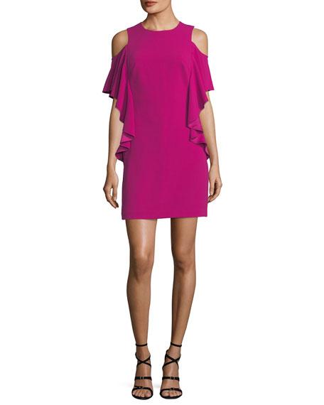 Lambada Cold-Shoulder Ruffled Sheath Dress