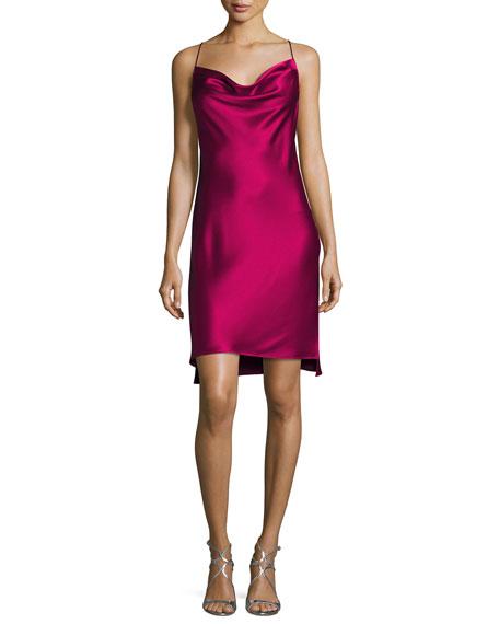 Cowl-Neck Satin Slip Dress