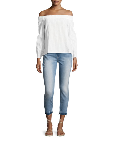 Skinny Ankle Jeans w/ Released Hem
