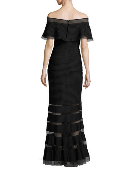 Off-the-Shoulder Trapunto Evening Gown