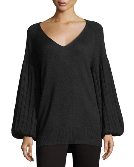 Francesca V-Neck Blouson-Sleeve Sweater