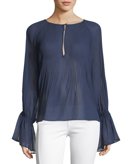 Ella Moss Nadja Split-Neck Pleated Sheer Blouse