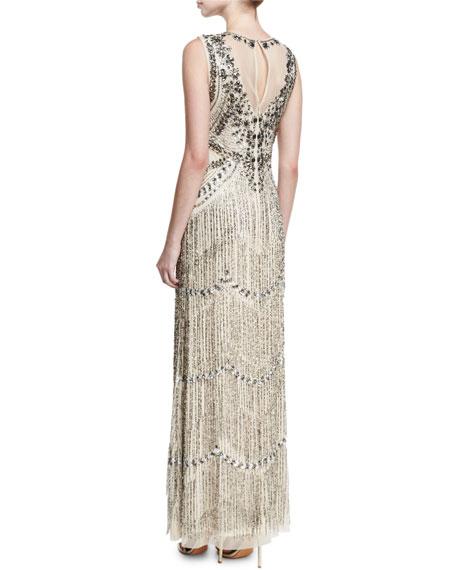 Beaded Deep-Neck Fringed Sleeveless Evening Gown