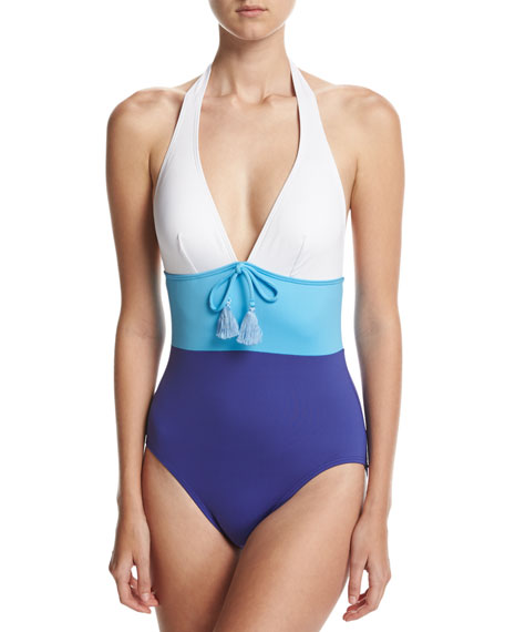 kate spade new york colorblock halter one-piece swimsuit