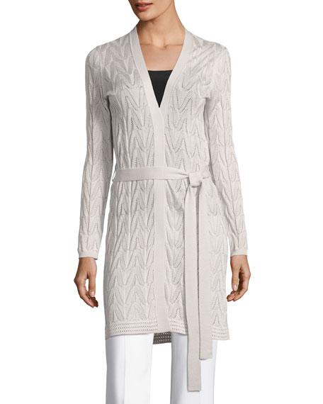 Long Wool-Blend Open Cardigan w/ Tie