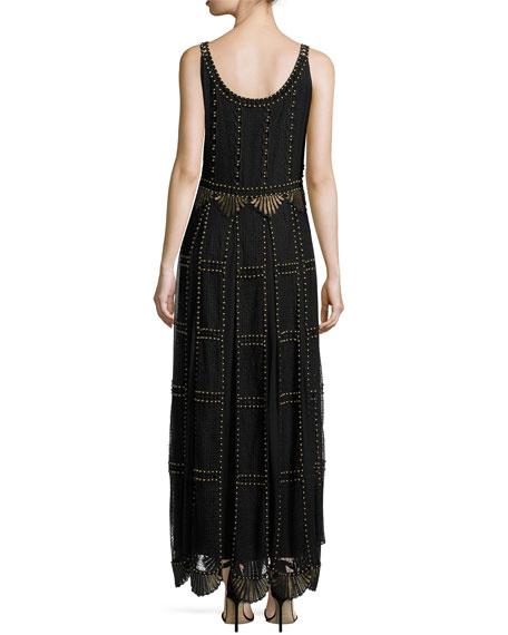 Sleeveless Studded Macramé & Chiffon Column Gown