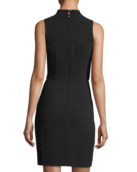 Crossover Mock-Neck Sleeveless Dress w/ Keyhole