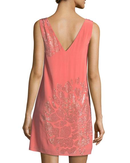 Sleeveless V-Neck Beaded Floral Embellished Silk Dress