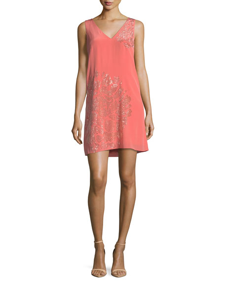 Trina Turk Sleeveless V-Neck Beaded Floral Embellished Silk