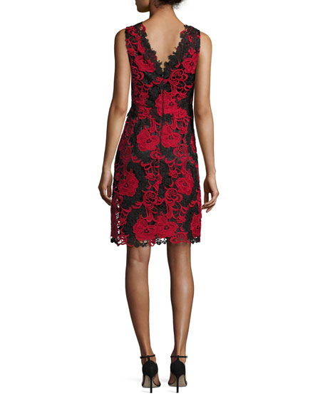Sleeveless Two-Tone Floral Lace Cocktail Dress
