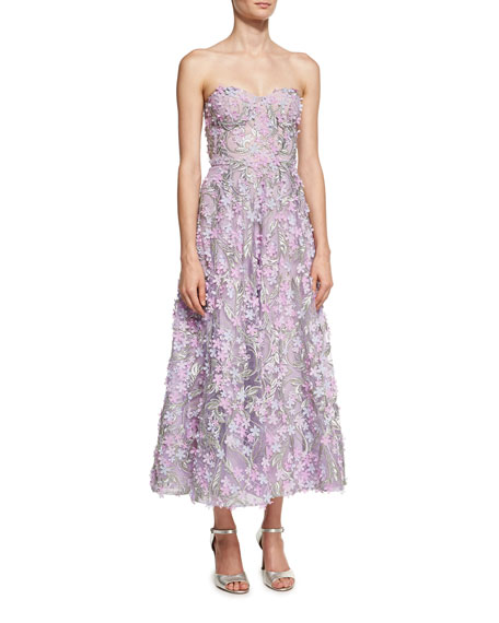 Marchesa Notte Strapless 3D Floral Cocktail Dress