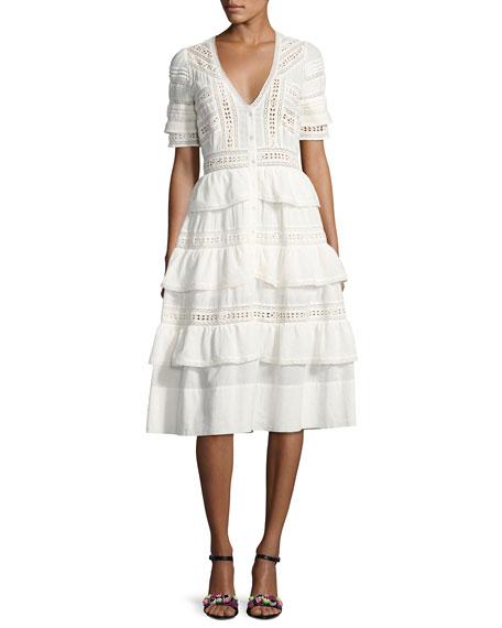 Loveshackfancy Rebecca Embroidered Cotton Midi Dress. White