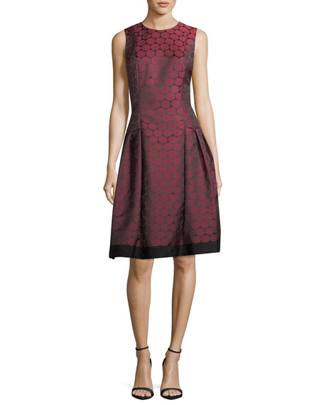 Carmen Marc Valvo Sleeveless Pleated Jacquard Dress