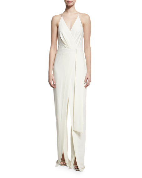 Sleeveless Faux-Wrap Stretch Crepe Jumpsuit