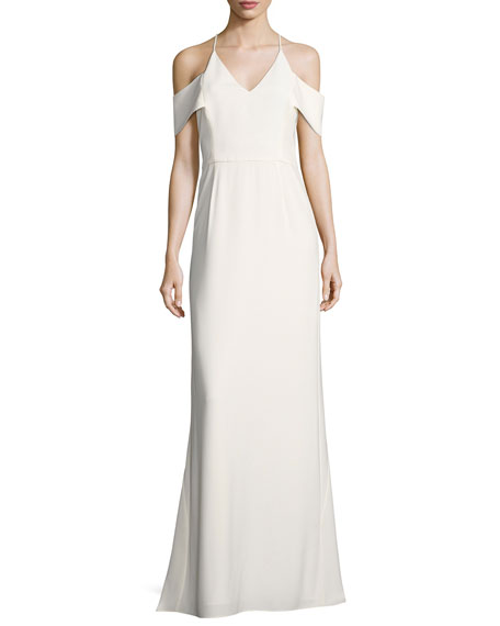 Halston Heritage Cold-Shoulder V-Neck Evening Gown