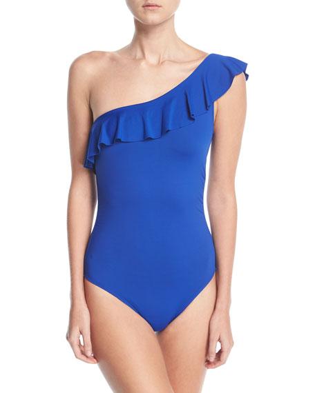 Flirtatious One-Shoulder Ruffle Swimsuit
