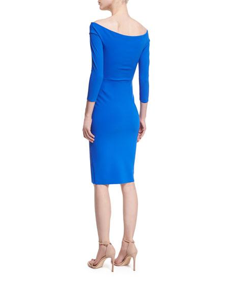 Irene 3/4-Sleeve Off-the-Shoulder V-Neck Cocktail Dress