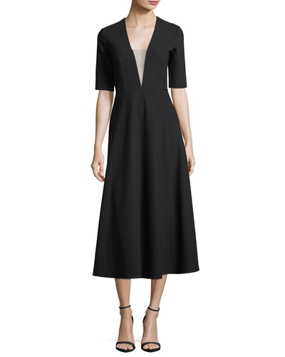 Deep V-Neck Illusion Dress