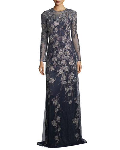Long-Sleeve Metallic Floral Gown