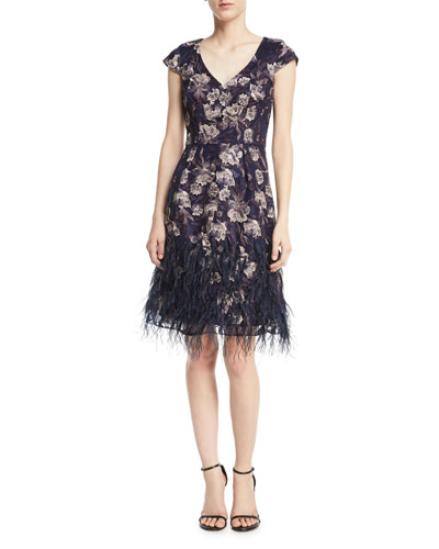 Floral V-Neck Cocktail Dress w/ Feather Skirt