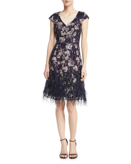 Floral V-Neck Cocktail Dress w/ Feather Skirt