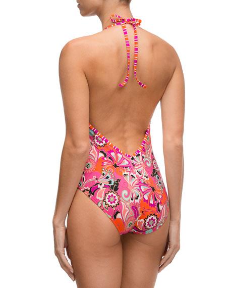 Sari Bijou Halter One-Piece Swimsuit