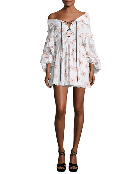 Caroline Constas Olympia Blouson-Sleeve Embroidered Cotton Dress