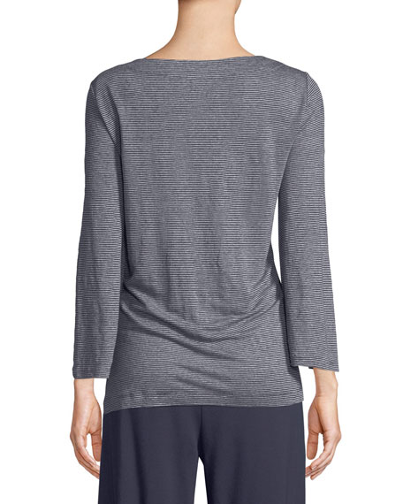 Organic Linen Jersey Stripe Bateau-Neck Linen Top, Petite