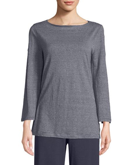 Eileen Fisher Organic Linen Jersey Stripe Bateau-Neck Linen