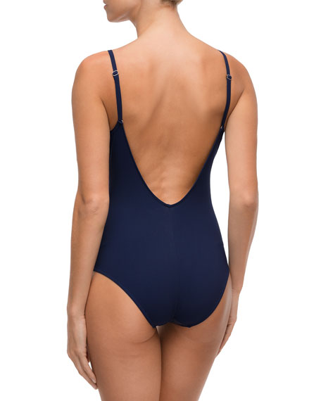 Navigation Graphic Non-Wire One-Piece Swimsuit