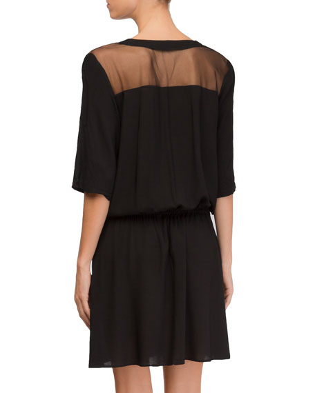 Town Beach Elbow-Sleeve Coverup Dress with Mesh