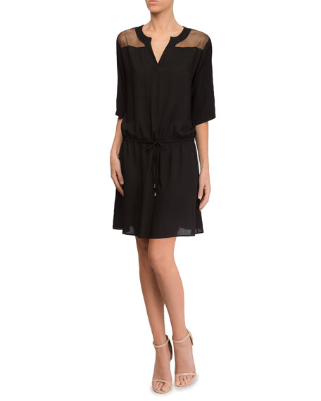 Lise Charmel  TOWN BEACH ELBOW-SLEEVE COVERUP DRESS WITH MESH