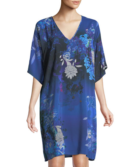Audace Beaute Floral Tunic Coverup Dress