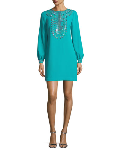 Crepe Embellished Long-Sleeve Dress