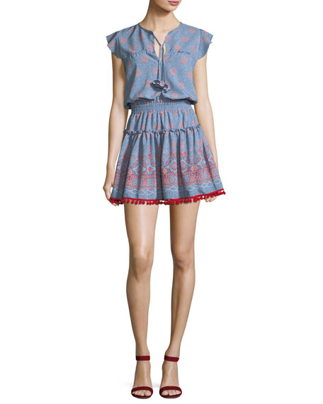 Tatiana V-Neck Tiered Printed Mini Dress