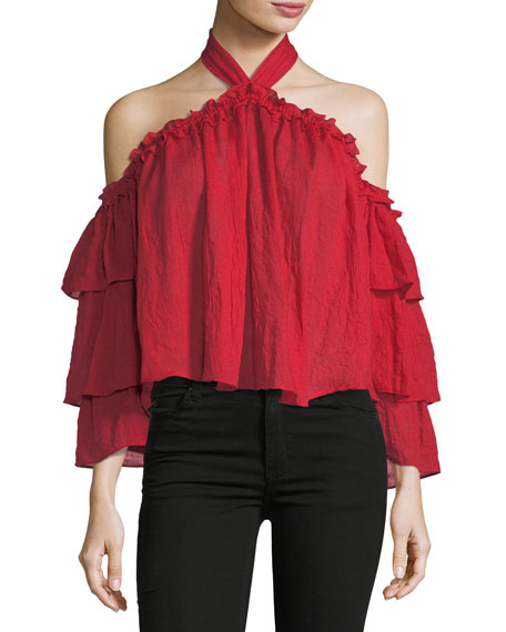 MISA Los Angeles Alisa Halter-Neck Tiered-Sleeve Gauze Top