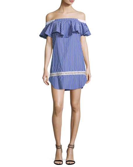 MISA Los Angeles Katya Off-the-Shoulder Striped Short Dress